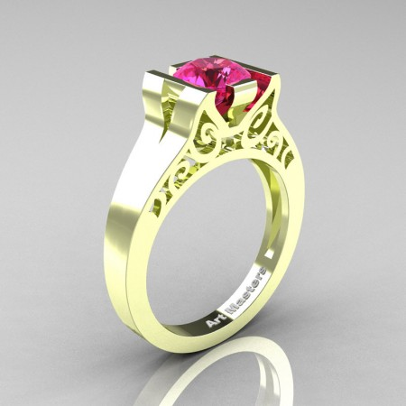 Art-Masters-Modern-Classic-14K-Green-Gold-1-Ct-Pink-Sapphire-Engagement-Ring-R36N-14KGGPS-P