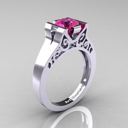 Art-Masters-Modern-Classic-14K-White-Gold-1-Ct-Pink-Sapphire-Engagement-Ring-R36N-14KWGPS-P