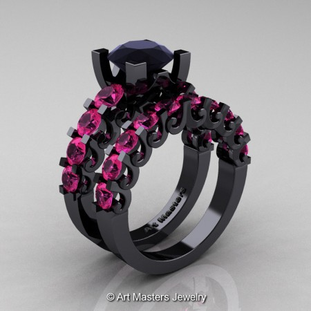 Art-Masters-Modern-Vintage-14K-Black-Gold-3-Ct-Black-Diamond-Pink-Sapphire-Wedding-Ring-Set-R142S-14KBGPSBD-P