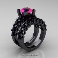 Modern Vintage 14K Black Gold 3.0 Ct Pink Sapphire Black Diamond Designer Wedding Ring Bridal Set R142S-14KBGBDPS