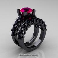 Modern Vintage 14K Black Gold 3.0 Ct Rose Ruby Black Diamond Designer Wedding Ring Bridal Set R142S-14KBGBDRR