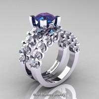 Modern Vintage 14K White Gold 3.0 Ct Alexandrite White Sapphire Designer Wedding Ring Bridal Set R142S-14KWGWSAL