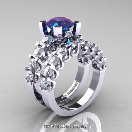Art-Masters-Modern-Vintage-14K-White-Gold-3-Ct-Alexandrite-White-Sapphire-Wedding-Ring-Set-R142S-14KWGWSAL-P