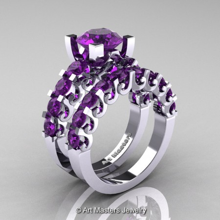 Art-Masters-Modern-Vintage-14K-White-Gold-3-Ct-Amethyst-Wedding-Ring-Set-R142S-14KWGAM-P