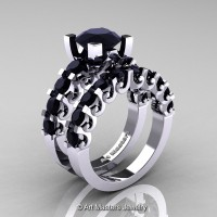 Modern Vintage 14K White Gold 3.0 Ct Black Diamond Designer Wedding Ring Bridal Set R142S-14KWGBD
