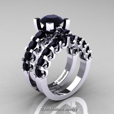 Art-Masters-Modern-Vintage-14K-White-Gold-3-Ct-Black-Diamond-Wedding-Ring-Set-R142S-14KWGBD-P