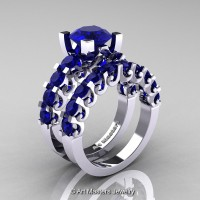 Modern Vintage 14K White Gold 3.0 Ct Blue Sapphire Designer Wedding Ring Bridal Set R142S-14KWGBS