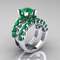 Modern Vintage 14K White Gold 3.0 Ct Emerald Designer Wedding Ring Bridal Set R142S-14KWGEM