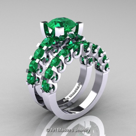 Art-Masters-Modern-Vintage-14K-White-Gold-3-Ct-Emerald-Wedding-Ring-Set-R142S-14KWGEM-P
