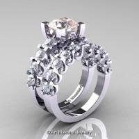 Modern Vintage 14K White Gold 3.0 Ct Morganite White Sapphire Designer Wedding Ring Bridal Set R142S-14KWGWSMO