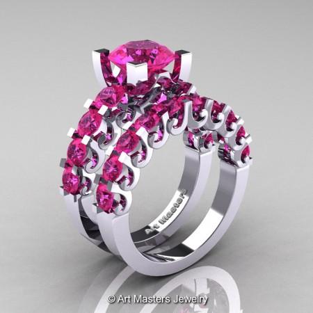 Art-Masters-Modern-Vintage-14K-White-Gold-3-Ct-Pink-Sapphire-Wedding-Ring-Set-R142S-14KWGPS-P