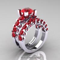 Modern Vintage 14K White Gold 3.0 Ct Rubies Designer Wedding Ring Bridal Set R142S-14KWGR