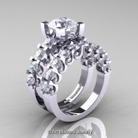 Modern Vintage 14K White Gold 3.0 Ct White Sapphire Designer Wedding Ring Bridal Set R142S-14KWGWS