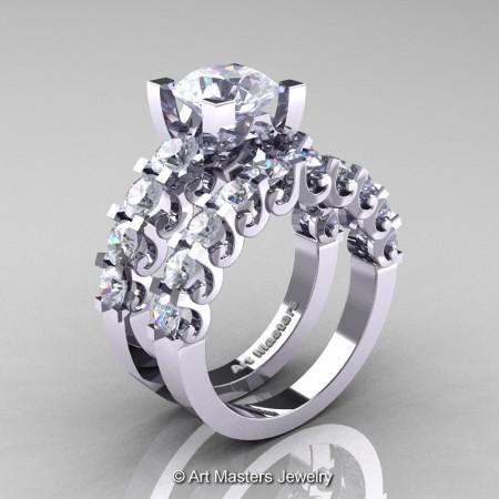 Art-Masters-Modern-Vintage-14K-White-Gold-3-Ct-White-Sapphire-Wedding-Ring-Set-R142S-14KWGWS-P