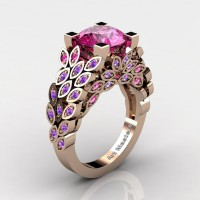 Art Masters Nature Inspired 14K Rose Gold 3.0 Ct Pink Sapphire Amethyst Engagement Ring Wedding Ring R299-14KYGAMMPS