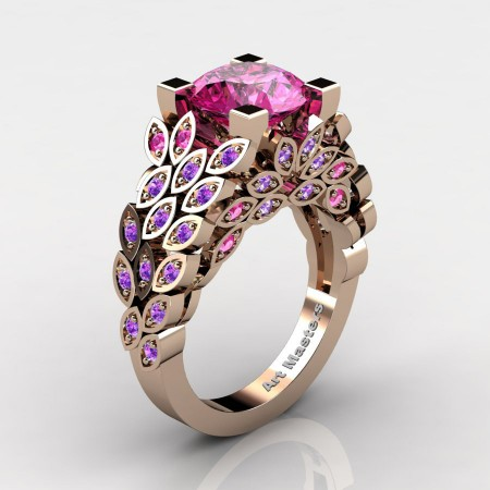 Art-Masters-Nature-Inspired-14K-Rose-Gold-3-Ct-Pink-Sapphire-Amethyst-Engagement-Ring-Wedding-Ring-R2992-14KRGAMPS-P