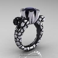 Art Masters Nature Fantasy 14K White Black Gold 3.0 Ct Black Diamond Solitaire Ring R297-14KWBGBD