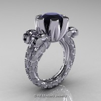 Art Masters Snow Leopard 14K White Gold 3.0 Ct Black Diamond Solitaire Ring R297-14KWGBD