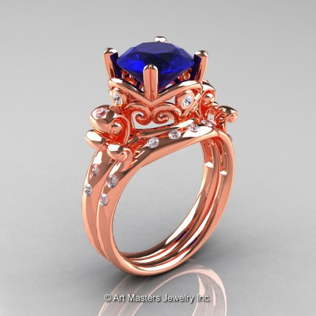 Art-Masters-Vintage-14K-Rose-Gold-3-Ct-Blue-Sapphire-Diamond-Solitaire-Ring-Wedding-Band-Set-R167S-14KRGDBS-P