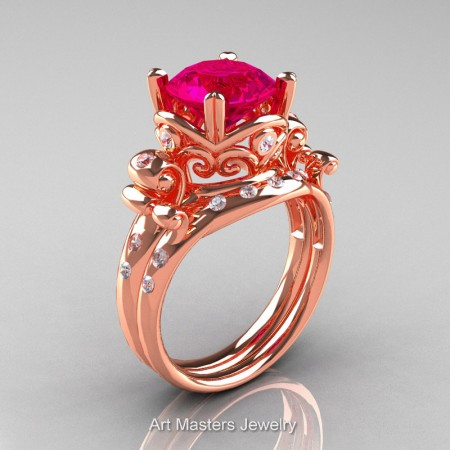 Art-Masters-Vintage-14K-Rose-Gold-3-Ct-Rose-Ruby-Diamond-Solitaire-Ring-Wedding-Band-Set-R167S-14KRGDRR-P
