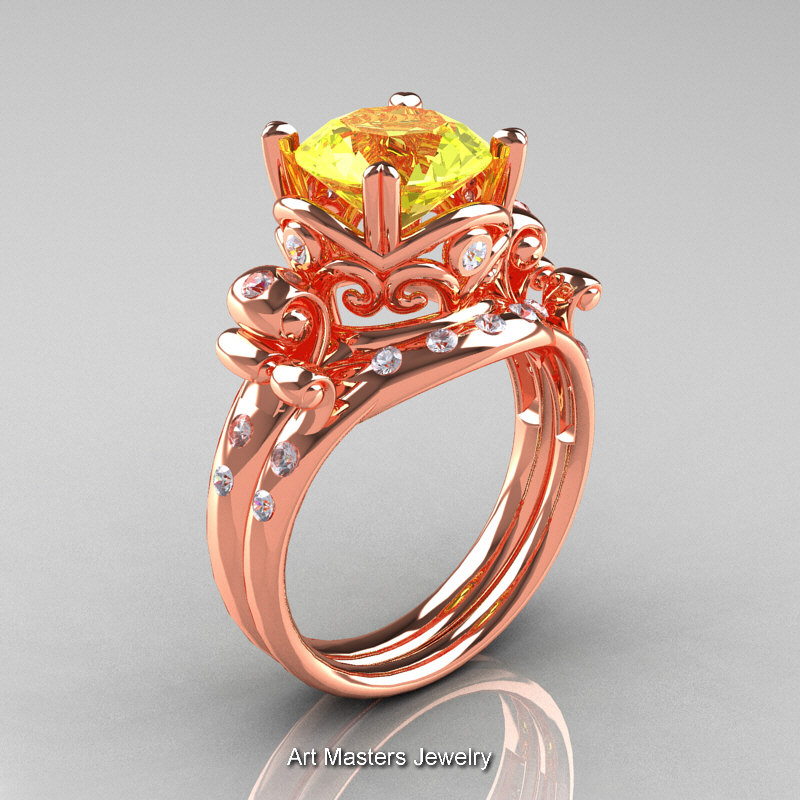 Art Masters Vintage 14k Rose Gold 3 0 Ct Yellow Sapphire