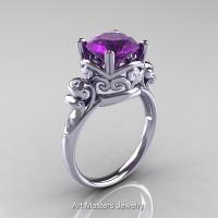 Art Masters Vintage 14K White Gold 3.0 Ct Amethyst Diamond Wedding Ring R167-14KWGDAM