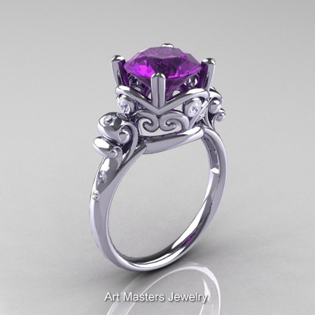 Art-Masters-Vintage-14K-White-Gold-3-Ct-Amethyst-Diamond-Solitaire-Ring-R167-14KWGDAM-P