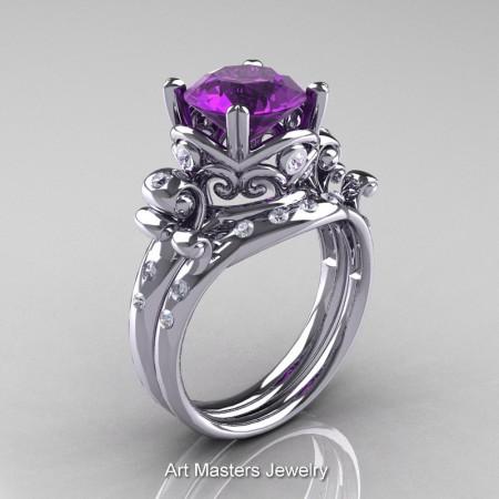 Art-Masters-Vintage-14K-White-Gold-3-Ct-Amethyst-Diamond-Solitaire-Ring-Wedding-Band-Set-R167S-14KWGDAM-P