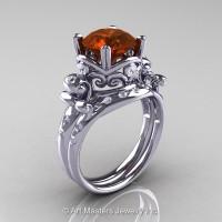 Art Masters Vintage 14K White Gold 3.0 Ct Brown and White Diamond Wedding Ring Set R167S-14KWGDBRD