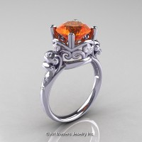 Art Masters Vintage 14K White Gold 3.0 Ct Orange Sapphire Diamond Wedding Ring R167-14KWGDOS