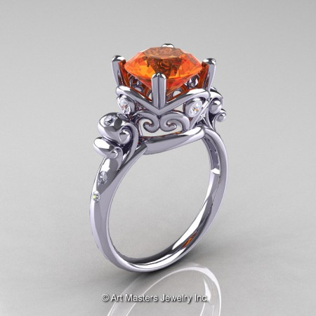 Art-Masters-Vintage-14K-White-Gold-3-Ct-Orange-Sapphire-Diamond-Solitaire-Ring-R167-14KWGDOS-P