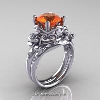Art Masters Vintage 14K White Gold 3.0 Ct Orange Sapphire Diamond Wedding Ring Set R167S-14KWGDOS