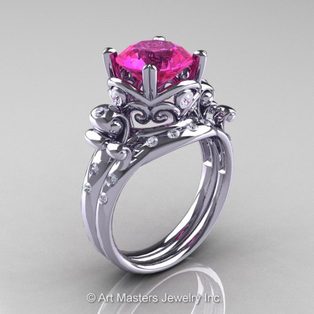 Art-Masters-Vintage-14K-White-Gold-3-Ct-Pink-Sapphire-Diamond-Solitaire-Ring-Wedding-Band-Set-R167S-14KWGDPS-P