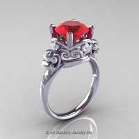 Art Masters Vintage 14K White Gold 3.0 Ct Ruby Diamond Wedding Ring R167-14KWGDR