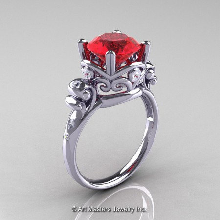 Art-Masters-Vintage-14K-White-Gold-3-Ct-Ruby-Diamond-Solitaire-Ring-R167-14KWGDR-P