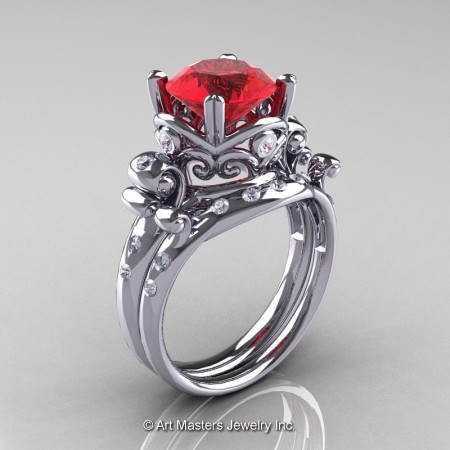 Art-Masters-Vintage-14K-White-Gold-3-Ct-Ruby-Diamond-Solitaire-Ring-Wedding-Band-Set-R167S-14KWGDR-P