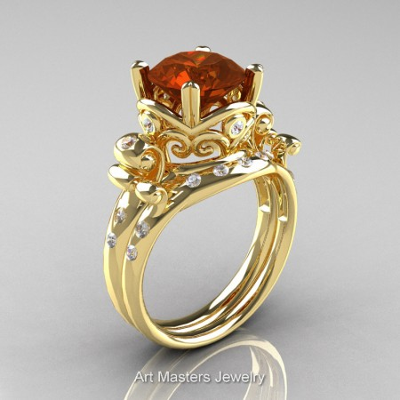 Art-Masters-Vintage-14K-Yellow-Gold-3-Ct-Brown-White-Diamond-Solitaire-Ring-Wedding-Band-Set-R167S-14KYGDBRD-P