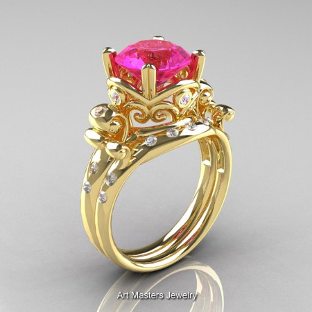 Art-Masters-Vintage-14K-Yellow-Gold-3-Ct-Pink-Sapphire-Diamond-Solitaire-Ring-Wedding-Band-Set-R167S-14KYGDPS-P