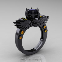 Art Masters Classic Winged Skull 14K Black Gold 1.0 Ct Black Diamond Citrine Solitaire Engagement Ring R613-14KBGCIBD