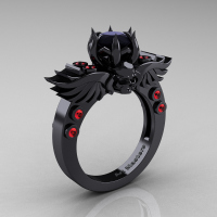 Art Masters Classic Winged Skull 14K Black Gold 1.0 Ct Black Diamond Rubies Solitaire Engagement Ring R613-14KBGRBD Perspective