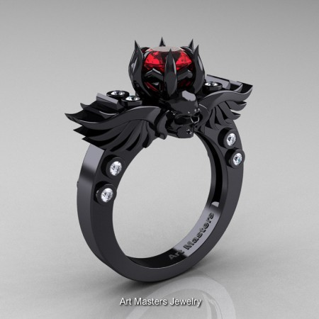 Art-Masters-Winged-Skull-14K-Black-Gold-1-Carat-Ruby-Diamond-Engagement-Ring-R613-14KBGDR-P