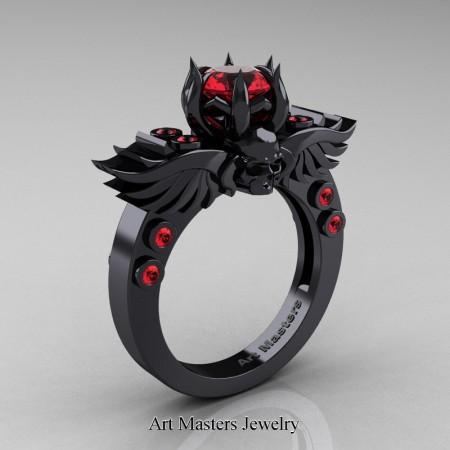 Art-Masters-Winged-Skull-14K-Black-Gold-1-Carat-Ruby-Engagement-Ring-R613-14KBGR-P