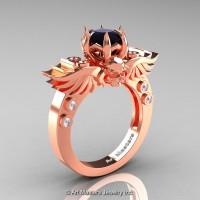 Art Masters Classic Winged Skull 14K Rose Gold 1.0 Ct Black White Diamond Solitaire Engagement Ring R613-14KRGDBD