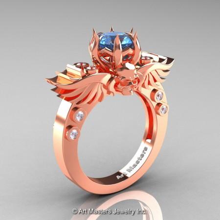 Art-Masters-Winged-Skull-14K-Rose-Gold-1-Carat-Blue-Topaz-Diamond-Engagement-Ring-R613-14KRGDBT-P