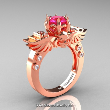 Art-Masters-Winged-Skull-14K-Rose-Gold-1-Carat-Pink-Sapphire-Diamond-Engagement-Ring-R613-14KRGDPS-P