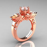Art Masters Classic Winged Skull 10K Rose Gold 1.0 Ct White Sapphire Solitaire Engagement Ring R613-10KRGWS