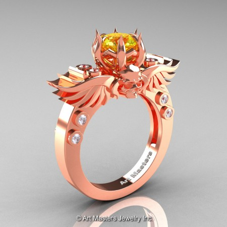 Art-Masters-Winged-Skull-14K-Rose-Gold-1-Carat-Yellow-Sapphire-Diamond-Engagement-Ring-R613-14KRGDYS-P