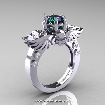 Art-Masters-Winged-Skull-14K-White-Gold-1-Carat-Alexandrite-Diamond-Engagement-Ring-R613-14KWGDAL-P