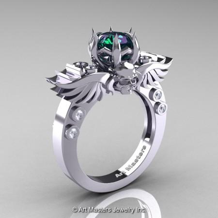 Art-Masters-Winged-Skull-14K-White-Gold-1-Carat-Alexandrite-Diamond-Engagement-Ring-R613-14KWGDAL-P