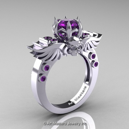 Art-Masters-Winged-Skull-14K-White-Gold-1-Carat-Amethyst-Engagement-Ring-R613-14KYGAM-P2